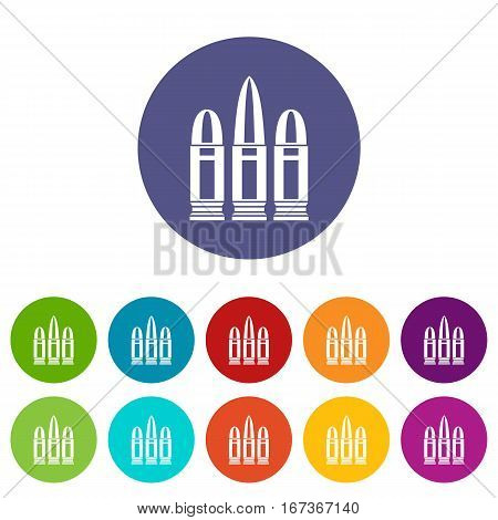 Cartridges set icons in different colors isolated on white background