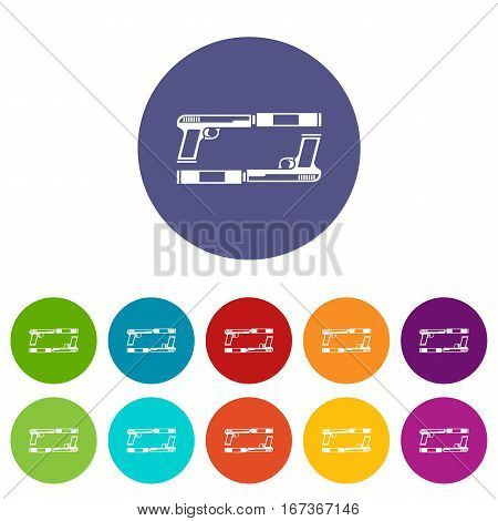 Gun set icons in different colors isolated on white background