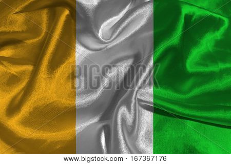 Cote d'ivoire flag 3D illustration symbol .
