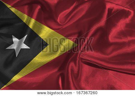 Timor Leste flag ,3D East Timor national flag 3D illustration symbol