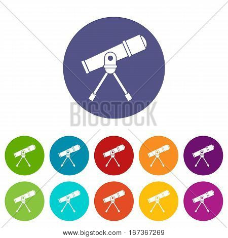 Space telescope set icons in different colors isolated on white background