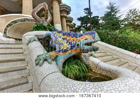 Barcelona, Spain - November 24, 2016: Lizard in Park Guell in Barcelona Spain is a public park system composed of gardens and architectonic elements located on Carmel Hill in Barcelona Catalonia (Spain).