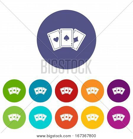 Three aces playing cards set icons in different colors isolated on white background