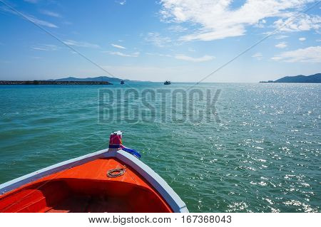 full color of boat, sky cloud and ocean,