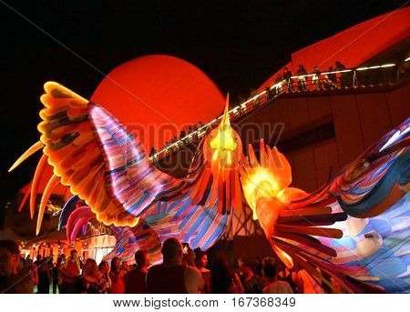 Sydney Australia - Jan 28 2017. People taking pictures at the larger than life lantern in the shape of Rooster. Sydney Opera House celebrating the Chinese Lunar New Year in 2017.