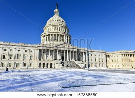 Washington DC in Winter - The Capitol in snow