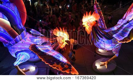 Sydney Australia - Jan 28 2017. People taking pictures at the larger than life lantern in the shape of Rooster. Sydney celebrating the Chinese Lunar New Year in 2017.