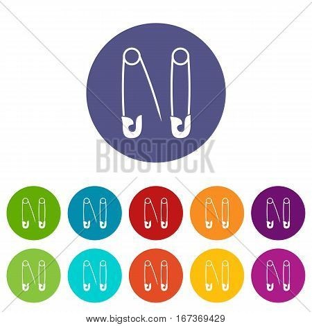 Pins set icons in different colors isolated on white background