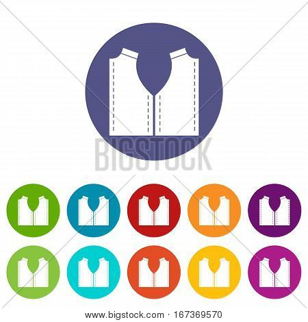 Pattern for sewing set icons in different colors isolated on white background