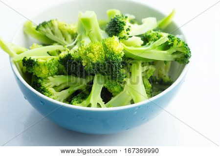 Fresh Steamed Broccoli In Bowl