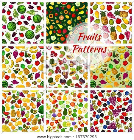 Set of fruits seamless pattern background. Tropical figs and exotic durio, strawberry and watermelon, cherry and grapes, kiwi and pear, plum and mango, pitaya and lychee, citrus lemon.For gastronomy wrapper, vegetarian or veggie, health theme