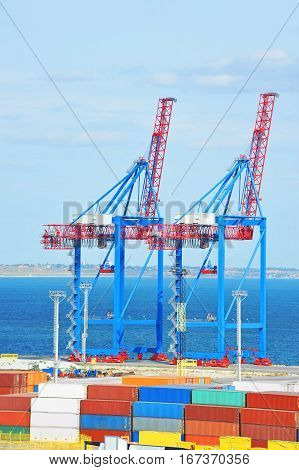 Port Cargo Crane And Container