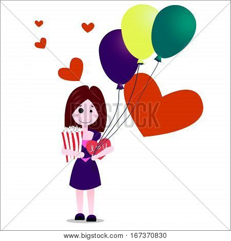 Flat design vector illustration of happy girl or young woman in violet dress onwhite background with heartscard and baloons. Happy valentine s day card. Valentine s idea concept