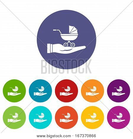Baby pram protection set icons in different colors isolated on white background