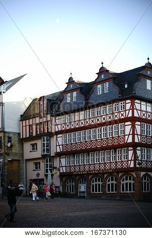 FRANKFURT, GERMANY - JANUARY 05: The historic half-timbered house and restaurant Black Star on the Roman Mountain on January 05, 2017 in Frankfurt.