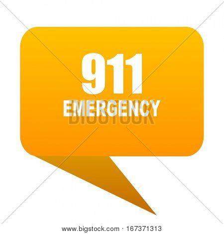 number emergency 911 orange bulb web icon isolated.