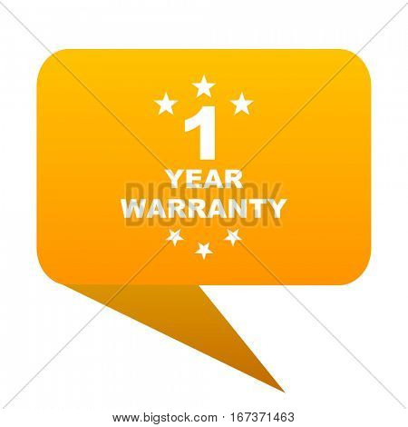 warranty guarantee 1 year orange bulb web icon isolated.