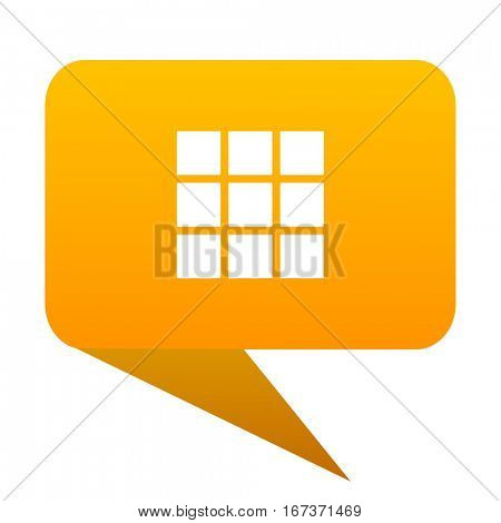 thumbnails grid orange bulb web icon isolated.