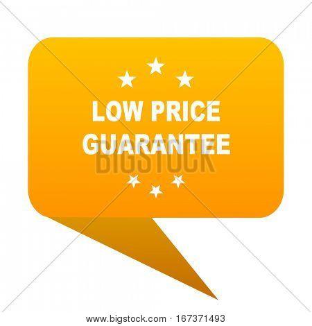 low price guarantee orange bulb web icon isolated.