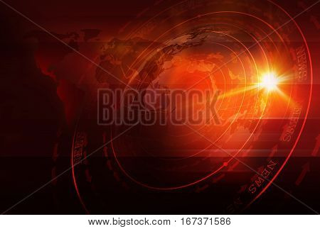 Graphical Sport News Background with World Map and Round Circles with Layers of Stages. Text on Ground. 3d illustration 3d render