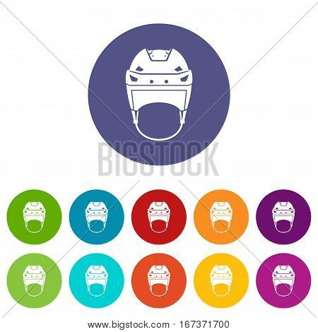 Hockey helmet set icons in different colors isolated on white background