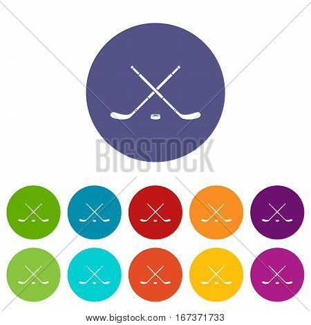 Hockey set icons in different colors isolated on white background