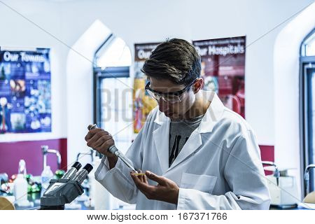 Science research, Scientist with pipette and flasks working on science research in laboratory, scientist with equipment and science experiments, Laboratory glassware containing chemical liquid, science research, science background and science concept and