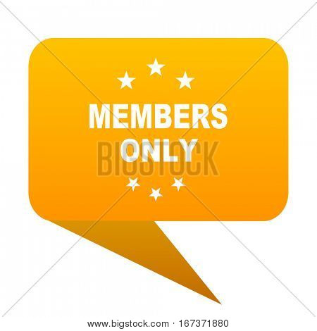 members only orange bulb web icon isolated.