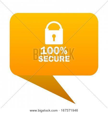secure orange bulb web icon isolated.