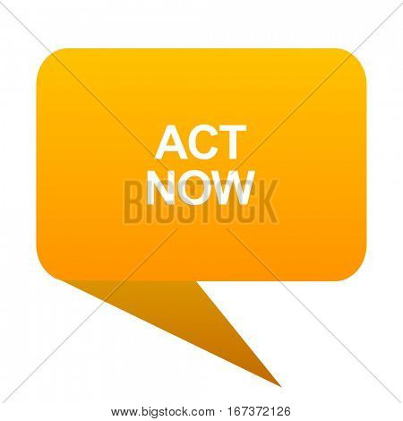 act now orange bulb web icon isolated.