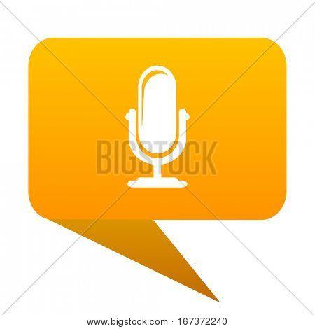 microphone orange bulb web icon isolated.