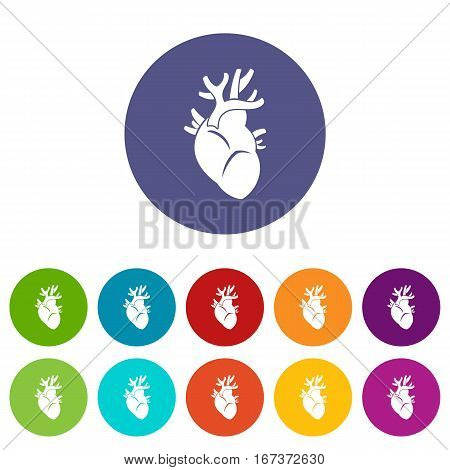 Heart set icons in different colors isolated on white background