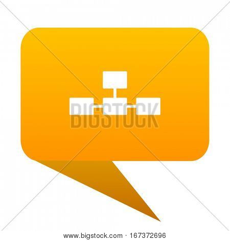 database orange bulb web icon isolated.