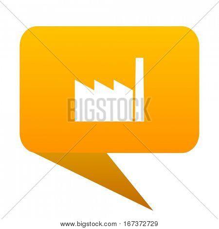 factory orange bulb web icon isolated.