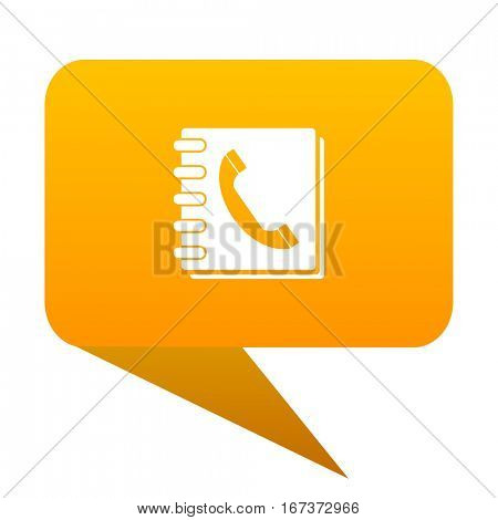 phonebook orange bulb web icon isolated.