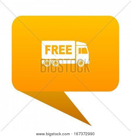 free delivery orange bulb web icon isolated.