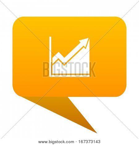 histogram orange bulb web icon isolated.