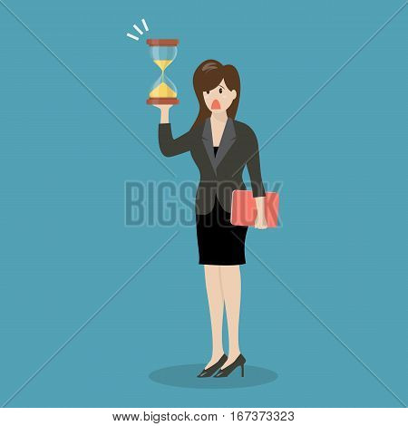 Business woman holding sandglass. Business deadline concept