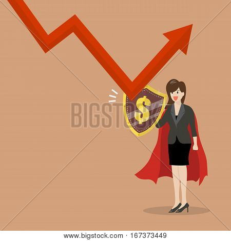 Business woman with shield protecting from graph down. Business concept