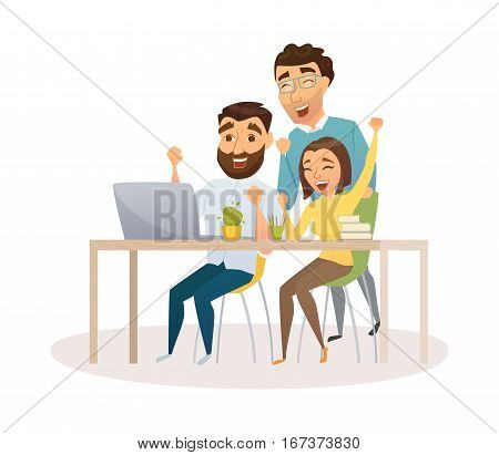Winners in office. Business team celebrating victory. Happy people in smart casual wear looking at the laptop and gesturing. Everyday successful man and woman with arms up