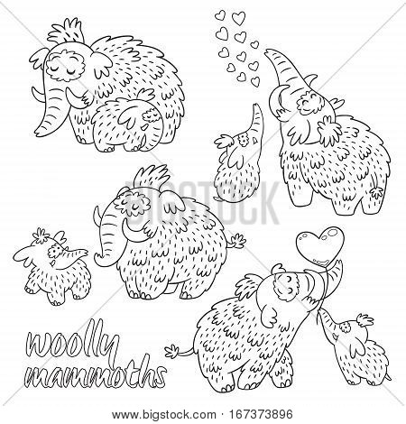 Set of cartoon mammoth with baby for coloring pages, art therapy post card. Vector illustration