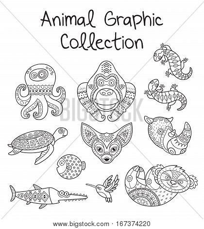 Animal graphic collection in outline. Hand drawn vector set in monochrome