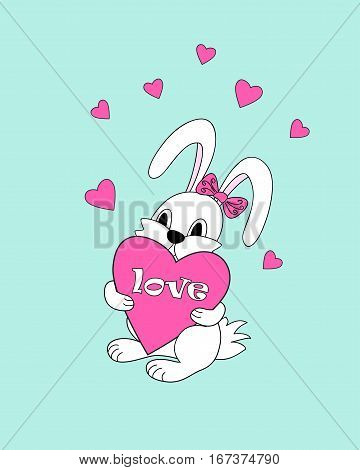 Isolated cartoon doodle rabbit with hearts and word Love for greeting or invitation valentine card sticker decorate romantic holiday party wall of kids room home stationery. eps 10.