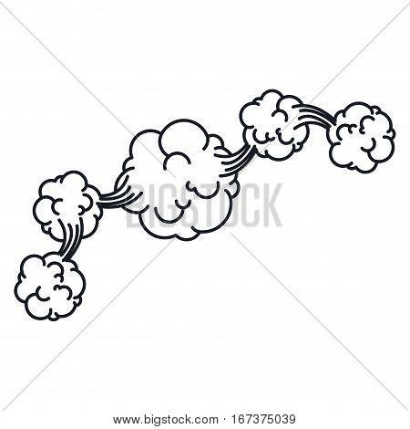 contour explosion steam cloud with cumulus line . Vector illustration