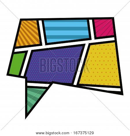 colorful rectangle callout in pop art vector illustration