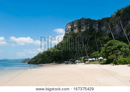 Beautiful beach with mountain in Krabi, Thailand