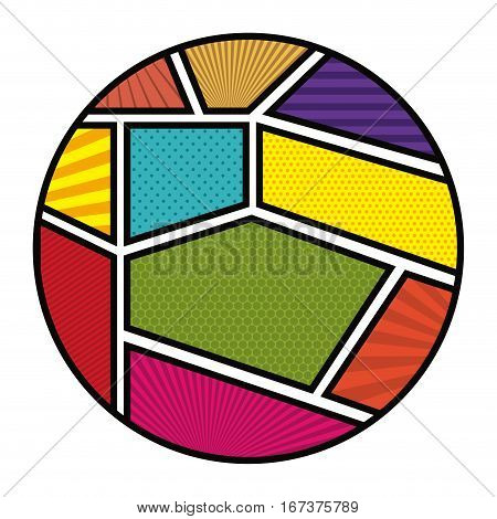 colorful circular shape in pop art vector illustration