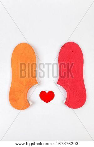 Short colorful socks isolated on white background