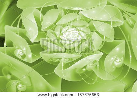Abstract Crystal Rose Flower With Glowing Sparkles. Fantasy Fractal Design In Green Colors. Psychede
