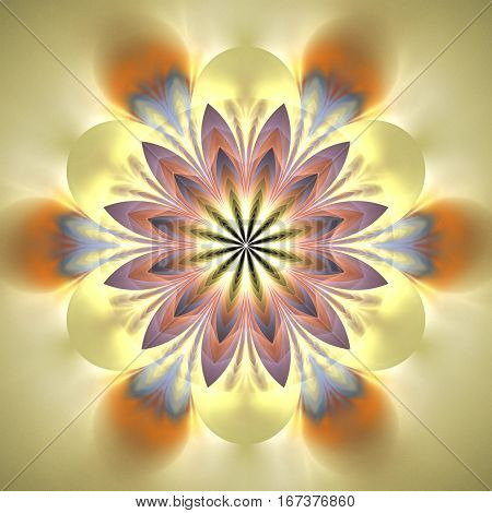 Abstract Exotic Flower. Psychedelic Mandala Design In Light Pink, Orange, Beige And Blue Colors. Fan